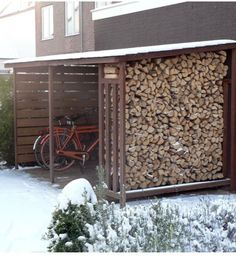 Wood Storage cover hardwood slates for bicycles and firewood