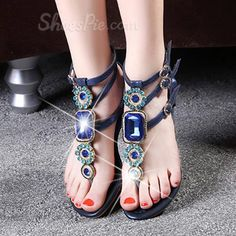 f214a244ac76c7 OMG Shoespie Rhinestone Ankle Strap Thong Flat Sandals  elegantshoegirl   shoes  ankle  boots