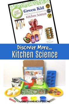 Discovery more kitchen science activities to go with your Green Kid Crafts Discovery Box for kids. Science and crafts for ages. Science Activities For Kids, Stem Science, Science Kits, Science Experiments Kids, Science Projects, Green Crafts For Kids, Kid Crafts, Math Design, Discovery Box
