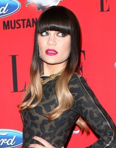 Jessie Js heavy bangs and multi-hued hairstyle