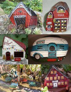 Painted Rock Fairy Garden Village