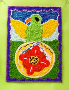 8th Grade - Huichol Yarn Painting - Contrast & Texture - yarn glued to cardboard