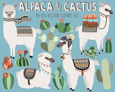 Cactus and Llama Clipart - Adorable Alpaca and Desert Vector Clip Art Set - Digital Design Elements with Unique Tribal Patterns by KennaSatoDesigns on Etsy https://www.etsy.com/listing/398857591/cactus-and-llama-clipart-adorable-alpaca
