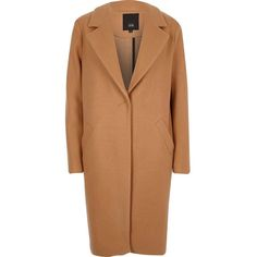 River Island Camel tailored coat (545 PEN) ❤ liked on Polyvore featuring outerwear, coats, coats / jackets, women, camel tailored coat, camel coat, beige coat, tall coats and long sleeve coat