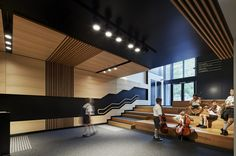 Image 3 of 23 from gallery of St Kevin's College, Victor McMahon Music Centre / Baldasso Cortese Architects. Photograph by Peter Clarke Lobby Design, Design Entrée, Atrium Design, Flur Design, Hall Design, Design Case, Design Ideas, Hall Interior, Interior Design Photos