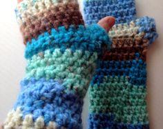 Neopolitan Fingerless Gloves Fabulous Brushed by LazyTcrochet