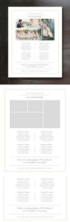 Photography Price List Template Wedding Fonts