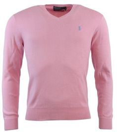 Polo Ralph Lauren Mens Pima Cotton V-Neck Sweater - L - Pink