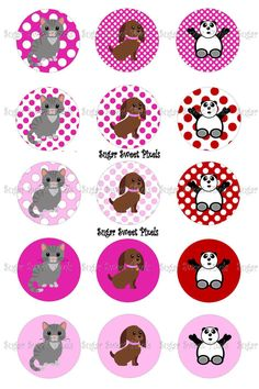 Instant download Cute Animal Polka dot Digital  by sugarnspicebow