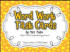 """""""Ultimate set of task cards for word work in your classroom. Set includes 44 word work activities, along with 4 blank task cards for p..."""