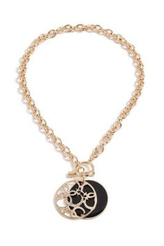 Black and Gold-Tone Quattro G Logo Toggle Necklace | GUESS.com