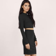 """SALE NWT TOBI Mock Neck Bodycon Set """"second glance"""" bodycon set from Tobi. Brand new with tags never worn. (White dress in photo is the same style and shows how the back looks, but the set is black). Mock neck top and bodycon skirt set. Size S Tobi Dresses"""