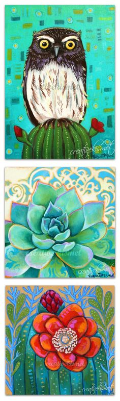 Inspired by the southwestern desert. Elf owl, succulents and cactus bloom. Art by Regina Lord