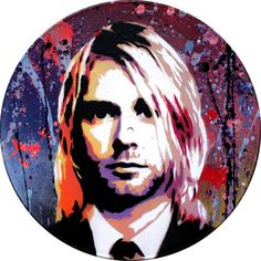 """Kurt Cobain from """"FAMOUS"""" collection front: acrylic painting on vinyl record by E.Gladenko (INS)"""
