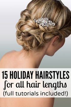 If you're looking for holiday hairstyles you can create from the comfort of your own bathroom, you'll love this collection of updo hairstyles for all hair lengths. There are updos for short hair, updos for shoulder length hair, updos for medium length hair, and updos for long hair!