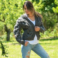 # EXCLUSIVE DESIGN BOUTIQUE HAND KNITTED MOHAIR WOOL CARDIGAN DARK GRAY # *** HANDCRAFTED with LOVE by EXTRAVAGANTZA *** PRODUCT FEATURES: • • Brand: EXTRAVAGANTZA • • Design: Luxury Soft Wool Cable Cardigan / Bomber Jacket • • Style: hand knitted cardigan • • Material:Luxury Soft