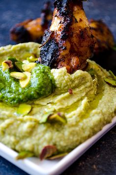 Pistachio Pesto Hummus is an amazing result of two already-addictive foods; hummus and pesto. This will be your most favorite way of eating hummus! | giverecipe.com | #vegetarian #party_food #gluten_free