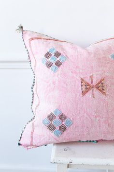 Moroccan Cactus Silk Kilim Pillow Cover Pink by LoomAndField