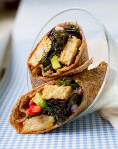 Kale Avocado Wraps w/ Spicy Miso-Dipped Tempeh
