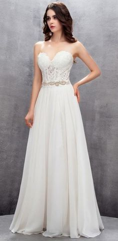 8188d435a42 Strapless Chiffon A Line Wedding Gown with Corset Bodice   Embellished Belt