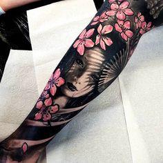 Ramn on 15 ideas for baby face tattoo ink tattoo baby Geisha Tattoos, Geisha Tattoo Design, Irezumi Tattoos, Maori Tattoos, Leg Tattoos, Black Tattoos, Tribal Tattoos, Tattoos For Guys, Tattoos For Women
