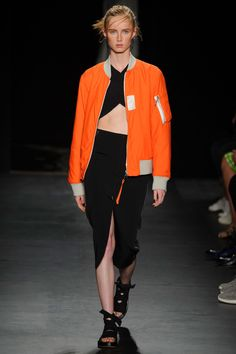 While the shapes and silhouettes were spare—long vests, roomy skirts, slim dresses and pencil skirts and bombers—there was a ton of texture via tweeds, mesh, knits, leather and bits of shine all over the place.    - HarpersBAZAAR.com