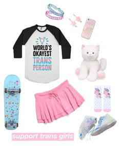 """""""support"""" by radghostkid ❤ liked on Polyvore featuring Juicy Couture, Topshop, lgbt, trans and transgirl"""