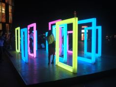 urban installation with colored lights, Sanlitun area, Beijing, 21 September 2013