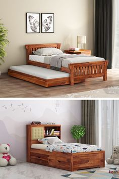 A trundle bed is a splendid furniture assortment for a place where two can easily settle in a snuggly way under one figure. Wooden trundle bed holds a secret bed within, so that there is no ambiguity of how to manage a small space for two. Wooden Street has come up with a fantastic range of pull out trundle bunk beds online taking note of every factor for an astounding bed assortment; so as to keep up to every statement of utility with utter comfort. Wooden Trundle Bed, Bunk Bed With Trundle, Bunk Beds, Wooden Street, Beds Online, Kid Beds, Bedroom Furniture, Small Spaces, Toddler Bed