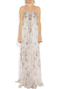 Alexander McQueen|Dragonfly-print silk-chiffon gown|NET-A-PORTER.COM