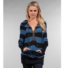 Free People striped Henley hoodie small Free people black and blue striped hoodie with front pocket and neck zip. In great condition! Free People Tops Sweatshirts & Hoodies