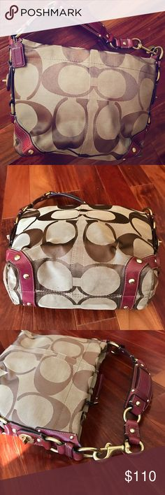 Coach # 10619 med Sz Red leather trim Carley bag This fabulous Carley has seen little to no wear at all - too small for me I decided after too much time passed by - excellent condition. Clean inside and out   Accepting reasonable offers Coach Bags