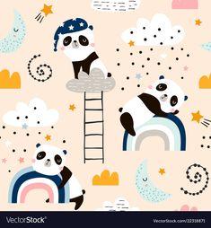 Seamless pattern with cute sleeping pandas moon vector Panda Illustration, Pattern Illustration, Vinyl Wallpaper, Cool Wallpaper, Nursery Patterns, Print Patterns, Kids Vector, Vector Art, Sleeping Panda