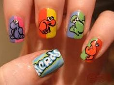 Funny Animal Theme of Cute Nail Designs for Kids