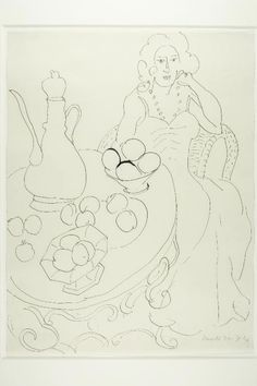 Henri Matisse French, 1869-1954 Seated Woman Before a Serving Table, 1944, Pen and black ink on ivory wove paper, 522 x 400 mm. Gift of the Ruth Stanton Family Foundation, 2005.150 | The Art Institute of Chicago