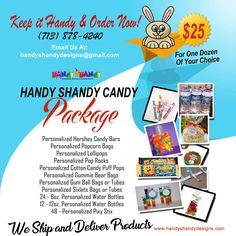 HURRY!! We Ship and Deliver Products.. 🍫🍫 Handy Shandy Candy Package 🍬🍬🍭🍭 Keep it Handy and Order now!! $25 For one dozen of your choice. Call (713) 878 – 4240 or Email handyshandydesigns@gmail.com for details!! 🍫🍫 #HandyCandy #SweetTreat 🍫🍫