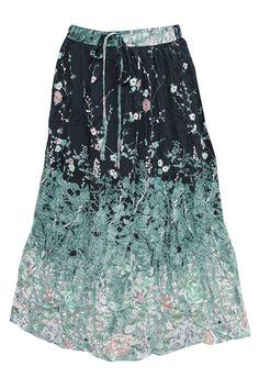Women's Peasant Skirt Green Black Floral Printed Rayon Skirts
