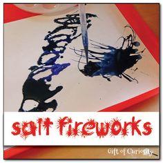 Simple fireworks craft using salt and glue #fireworks #IndependenceDay #simplescience #handsonlearning || Gift of Curiosity