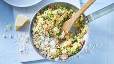 This cheap risotto is quick and easy because all the stock goes in at once. It's also brilliant for using up leftovers.