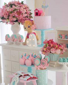 Girl Paw Patrol Party, Sky Paw Patrol, Paw Patrol Birthday Girl, Paw Patrol Cake, Mickey Birthday, 3rd Birthday Parties, Baby Birthday, Birthday Ideas, Decoration