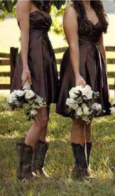 Brown bridesmaids dresses with brown cowboy boots stunning with the white bouquets