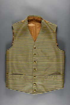 Man's Waistcoat. Made in United States, Mid- 19th century, Yellow and black striped wool twill, wool twill, removable gold metal buttons