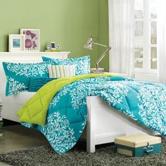 This beautiful blue #bedding will help turn your bedroom into an oasis.