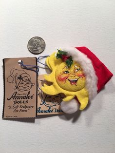 "Vintage Cloth ""Sun with Santa Hat"" Pin - ANNALEE DOLLS 1998"
