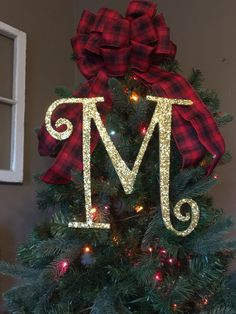 "12"" Gold Monogram Christmas Tree Topper Letter"