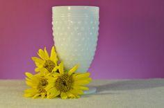 Vintage Milk Glass Hobnail Pattern Pedestal by ClassicCabin, $8.98