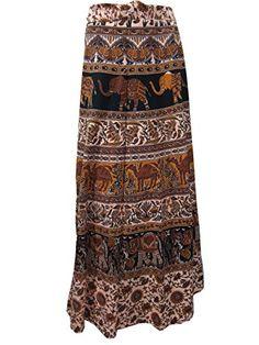 Wrap Skirt- Brown Elephants Print Long Wrap Around Dress, Holiday Gift Mogul Interior http://www.amazon.com/dp/B00RL5NDOW/ref=cm_sw_r_pi_dp_LwOOub1SNA7MZ