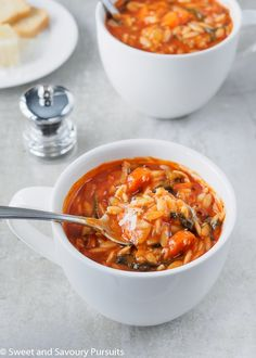 Made with simple ingredients, this easy and quick to make homemade vegetarian Tomato Orzo Soup is a delicious, hearty and healthy meal. # Tomato Orzo Soup – Sweet and Savoury Pursuits Orzo Recipes, Tomato Soup Recipes, Vegetarian Recipes, Cooking Recipes, Healthy Recipes, Vegetarian Diets, Healthy Food, Meat Recipes, Healthy Meals