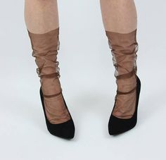 Chocolate Brown Sheer Tulle Socks Brown Seam Socks Brown