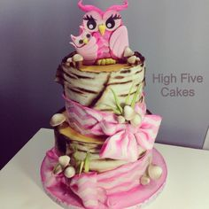 Woodland Owls (girl) cake by High Five Cakes www.facebook.com/highfivecakeco